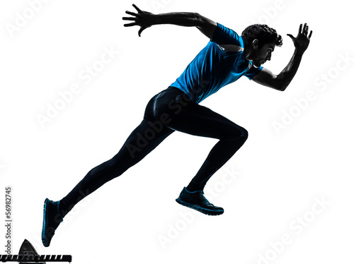man runner sprinter  silhouette Canvas Print