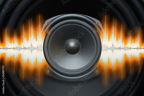 Audio speaker with sound wave patterns of music Wallpaper Mural