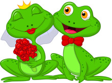 Bride And Groom Frogs Cartoon Characters