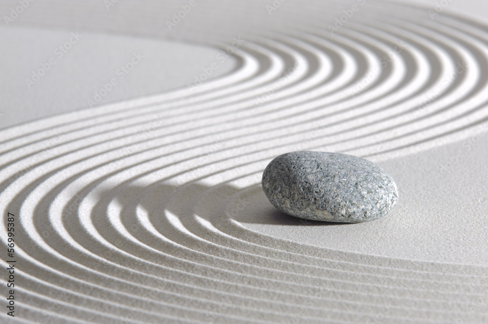 Fototapeta Japan ZEN garden in sand with stone