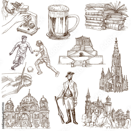 Fotografie, Obraz  traveling Germany - hand drawings - white part 2