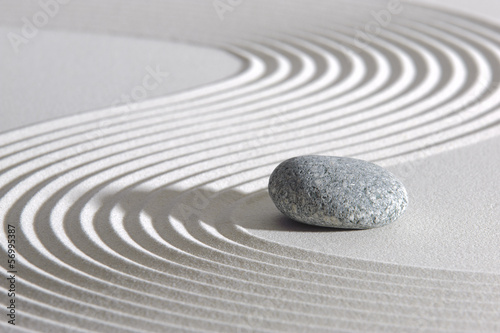 Japan ZEN garden in sand with stone Canvas Print