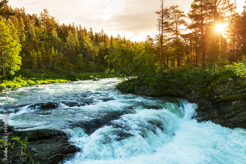 Deurstickers Rivier River in Norway