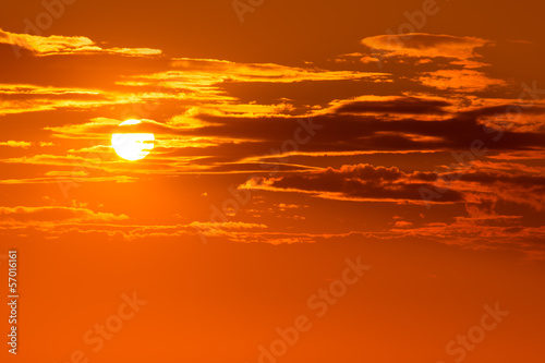 Fotobehang Baksteen Sunset orange sky background at evening