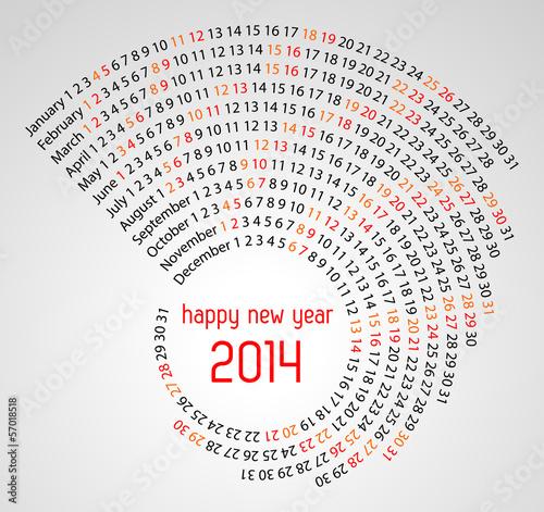 Photo 2014 calendar spiral illustration