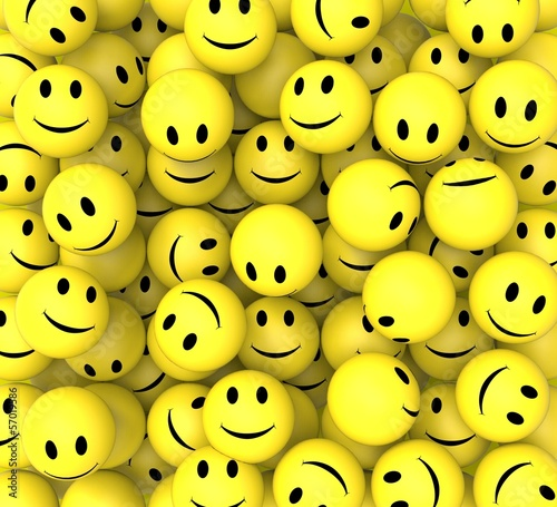 fototapeta na drzwi i meble Smileys Show Happy Cheerful Faces