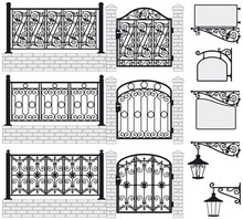 Set Of Iron Wrought Fences, Ga...