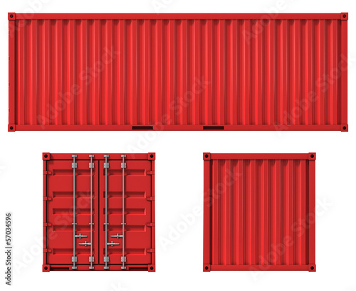 Photo cargo container front side and back view