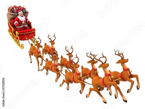 Santa Claus rides reindeer sleigh on Christmas - Buy this ...