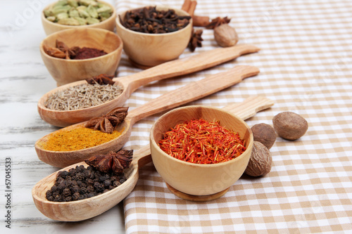 Photo Stands Herbs 2 Various spices and herbs on table close up