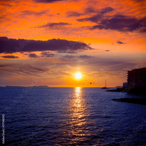 Spoed Foto op Canvas Oranje eclat Ibiza san Antonio Abad de Portmany sunset