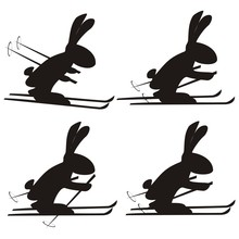 Rabbit, Set, Skiers, Vector Pictogram