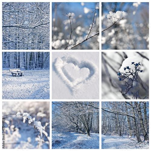Papiers peints Blanc Collage paysage neige