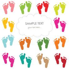 Baby Footprints Greeting Card Vector