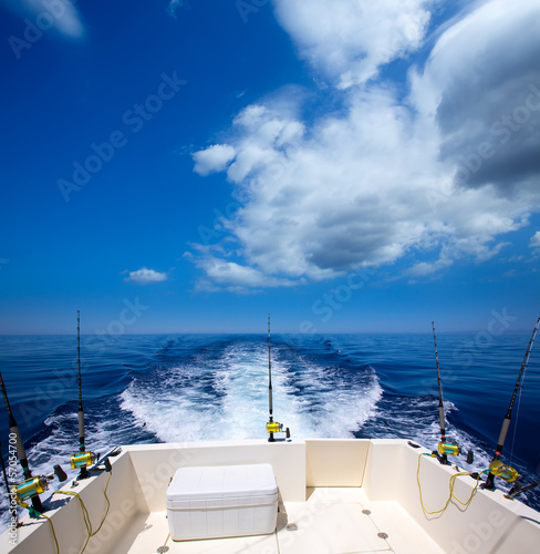 Printed kitchen splashbacks Fishing Fishing boat stern deck with trolling fishing rods and reels