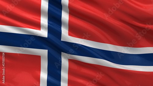 Flag of Norway waving in the wind Fototapeta