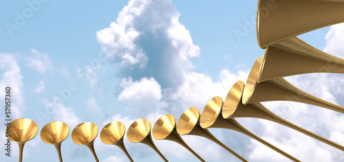 Photo  Heavenly Medieval Trumpet Circle And Sky