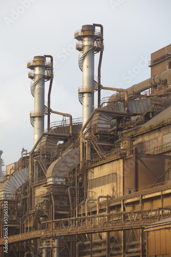 Staande foto Industrial geb. View of PoIlution heavy industrial iron plant