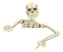 Halloween Skeleton Pointing Down