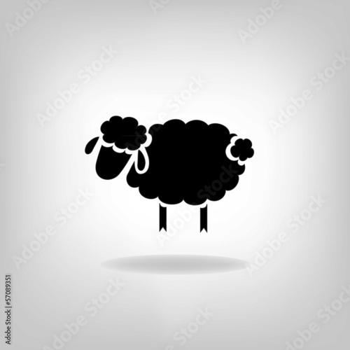 Fotografie, Obraz  black silhouette of sheep on a light background