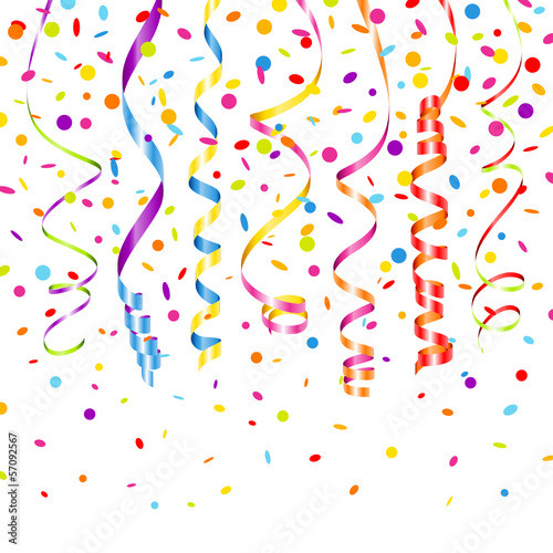 7 Streamers & Confetti Color Mix - Buy this stock vector and explore