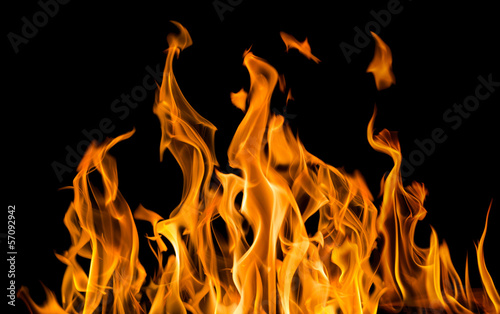 Cadres-photo bureau Feu, Flamme yellow fire sparks isolated on black