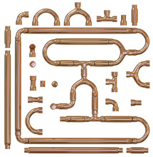 Copper Pipe Fittings Set