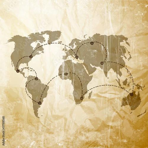 Fototapeta mapa mapa-swiata-z-liniami-lotniczymi