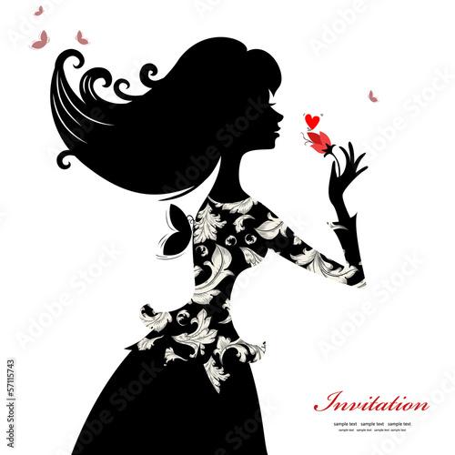 Fotobehang Bloemen vrouw Silhouette of a beautiful stylish woman