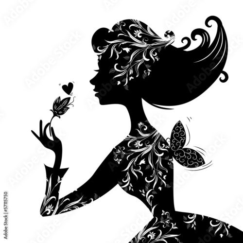 Recess Fitting Floral woman Silhouette of a beautiful stylish woman