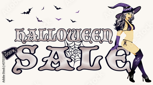 Photo  Halloween sale with young sexy witch, vector