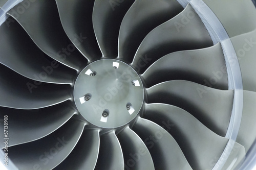 Fotografie, Obraz  Close Up Image Of Business Aircraft Jet Engine Inlet Fan