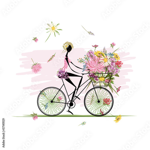 Foto op Canvas Bloemen vrouw Girl with floral bouquet in basket cycling