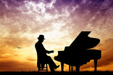 Pianist At Sunset