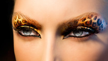 Beauty Fashion Model Girl With Holiday Leopard Makeup