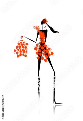 Foto op Canvas Bloemen vrouw Girl with red apples dress for your design