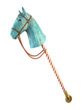 Blue Wood Horse On Stick Isolated On White Background (symbol Of