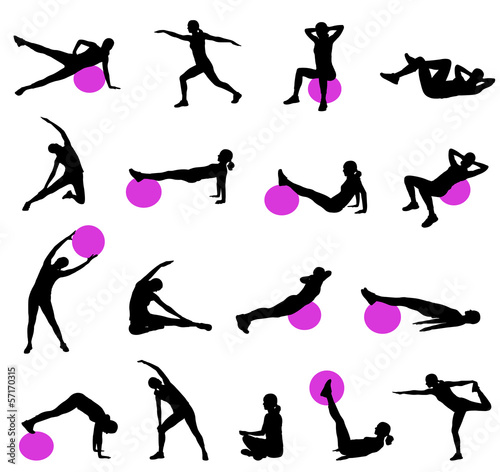 Photo  silhouettes of women doing pilates - vector