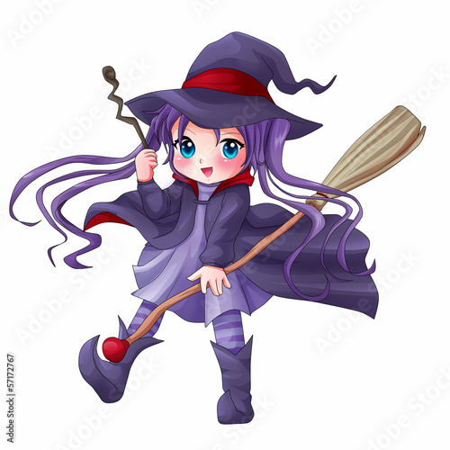 Photo  Illustration of a cute witch with her broom and magic wand