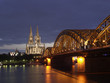夜のケルン大聖堂とライン川