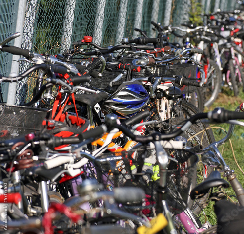 Deurstickers Amsterdam wheels, tires, handlebars, bike pedals during a gathering of cyc