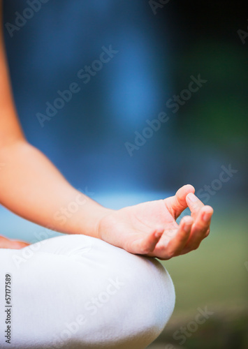 Photo  Close up View of Woman in Lotus Position