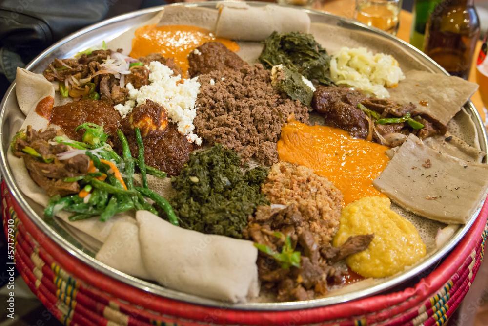 Fototapety, obrazy: Injera be wot, traditional Ethiopian Food