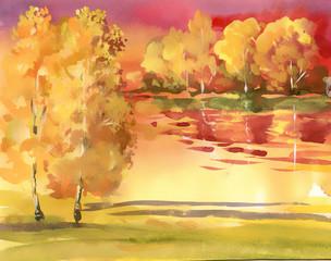 Obraz Watercolor autumn landscape collection