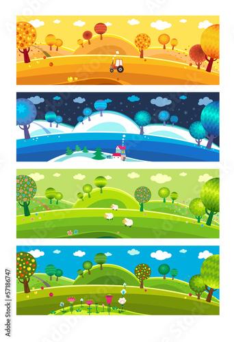 Fotografie, Tablou  Four seasons. Vector.
