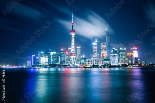 shanghai skyline at night Poster