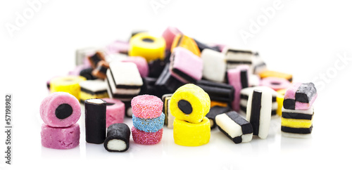 liquorice allsorts isolated on a white background Canvas Print