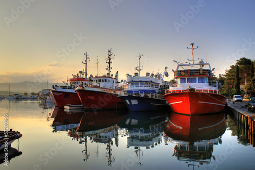 Canvas Prints Ship Fishing boats on early morning on calm sea