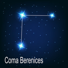 "The Constellation ""Coma Berenices"" Star In The Night Sky. Vector"