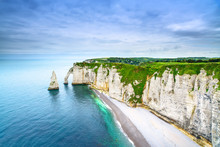 Etretat Aval Cliff Landmark And Ocean . Normandy, France.